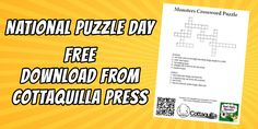 It's National Puzzle Day! (January 29, 2016) - To celebrate, Cottaquilla Press and author, PJ Thyme have posted a free Monsters Crossword Puzzle for you to download and share with the kids. Enjoy, and feel free to share! http://www.cottaquilla.com/national-puzzle-day-freebie/