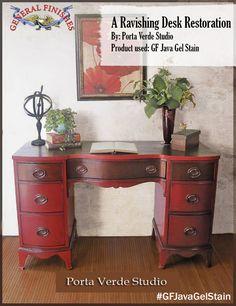 This beauty was stained with General Finishes Java Gel Stain by Porta Verde Studio, https://www.facebook.com/portaverdestudio?ref=ts&fref=ts. Love this look! We'd love to see your projects made with General Finishes products! Tag us with #GeneralFinishes or share with us through our facebook page. #javagelstain