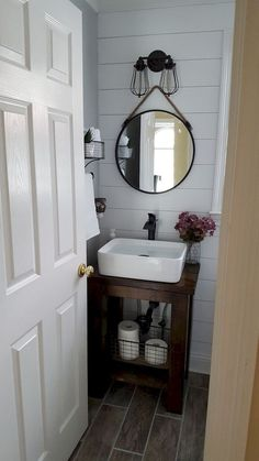 With creative small bathroom remodel ideas, even the tiniest washroom can be as comfortable as a lounge. Perfect-sized sink and countertop with minimalist shower represents the ideal small bathroom one should have. Bathroom Sink Design, Small Bathroom Sinks, Small Bathroom Storage, Bathroom Toilets, Modern Bathroom, Bathroom Ideas, Bathroom Designs, Simple Bathroom, Bathroom Accents