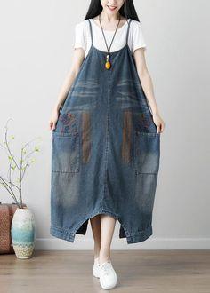 Special Design Denim Culottes Plus Size Denim Jumper Dress in Blue One Size Denim Culottes, Denim Jumpsuit, Harem Jeans, Denim Jumper Dress, Knit Dress, Black Women Fashion, Womens Fashion, Latest Fashion, Fashion Story