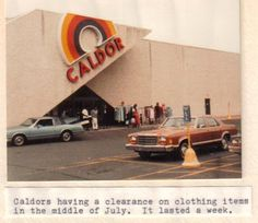 """Caldor (1951-1999) • """"Rainbow"""" logo began appearing on stores in the 1970s and was used until 1989"""