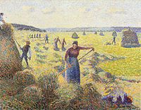 Camille Pissarro Le Recolte des Foins a Eragny hand painted oil painting reproduction on canvas by artist Camille Pissarro, Bd Art, Val D'oise, Post Impressionism, Felder, Famous Art, Pointillism, Art Database, Oil Painting Reproductions