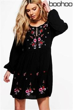 Buy Boohoo Embroidered Smock Dress from the Next UK online shop