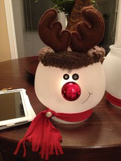DIY reindeer globe. Take a fish bowl spray paint w frosted glass spray paint, let dry, then hot glue on button eyes, red plastic ornament and antlers:)