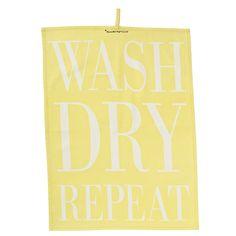 Ręcznik kuchenny z napisem (żółty) Bloomingville