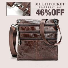 Genuine Leather Crossbody Bag Vintage Multi Pocket Shoulder Bag For Men