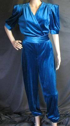 1980s Blue Jumpsuit with Shoulder Pads