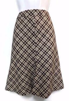 Women's Ann Taylor LOFT Black White Gray Wool Blend A-Line Skirt 6 #AnnTaylorLOFT #ALine
