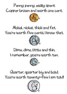 Coin Poem (one sheet)...this site also has a mini booklet to help teach the values of the coins.  Great addition to E's curriculum on the coins :)  Easy to print