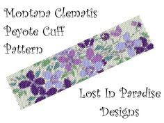 Peyote Bracelet Pattern -  Montana Clematis Peyote Pattern