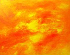Large Abstract Sun Painting, ORANGE ART, Large Paintings, Sun, Abstract Canvas Painting, Art, Original Wall Art, Home Decor, Bright Art