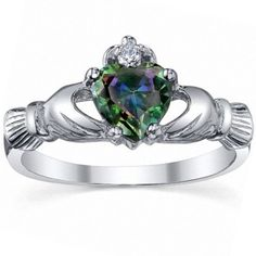 Get the famous Eris: Heart-cut Simulated Rainbow Topaz n IOF CZ Dublin Claddagh Promise Ring Silver, 3185A by 1000 Jewels online today. This sought after item is currently available - buy securely online here today.