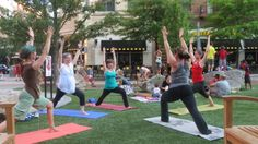 Yoga Flash Mob on the Summer Solstice 2012 in Rockville Town Square, Maryland.