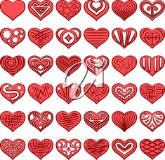 Set of Red Valentine Hearts with Abstract Black and White Patterns, Holiday Symbols of Love. Vector #2647678 | Clipart.com Vector Clipart, Clipart Images, Valentines Day Clipart, Valentine Hearts, Love Symbols, White Patterns, Royalty Free Images, Clip Art, Craft Ideas