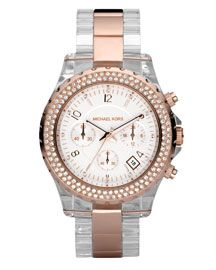 Michael Kors Resin and Rose gold watch.