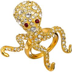 Kenneth Jay Lane Octopus Ring ($115) ❤ liked on Polyvore featuring jewelry, rings, octopus jewelry, red ring, clear jewelry, clear crystal jewelry and octopus ring