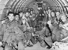 SEP 17 1944 Market Garden: Allied airborne attack into Holland British paratroops inside a C-47 transport plane to land with the First Allied Airborne Army on enemy-held Holland.
