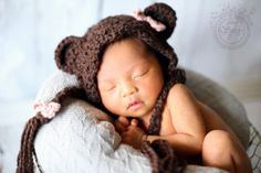 Crocheted baby bear bonnet with bows  by CrochetnCoffeeBeans, $21.00