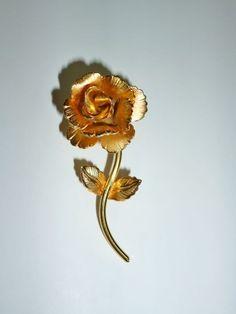 GIOVANN Rose Brooch Gold Plate Signed  #Giovann