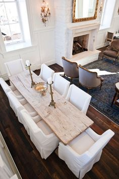 rustic + white chairs