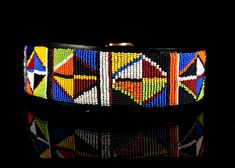 Primary Colors African Beaded Dog Collar | Kenyan Collection Collars at GlamourMutt
