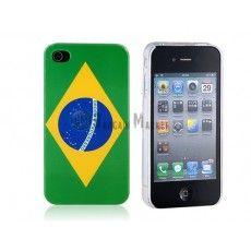 KN139 Brazilian Flag Back Hard Case Cover for Apple iPhone 4G