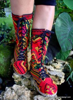 fun embroidered combat boots