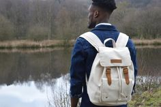 Kurtis Paul Mens Canvas Backpack, Rucksack in Cream