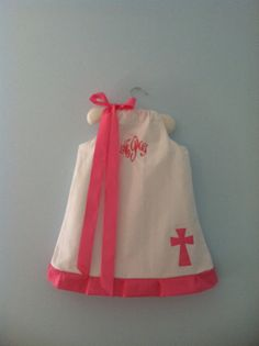 Monogrammed White Dress with Cross NB4T by bellesandbugs on Etsy, $33.00