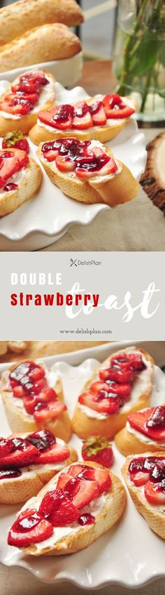 Strawberries on toast with a layer of honey sweetened cream cheese glazed with warm strawberry jam. Double strawberry toast, double yum! Read more at http://www.delishplan.com/double-strawberry-toast/