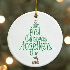Our First Christmas Ornament Personalized First Christmas Together Keepsake by PreppyPinkies on Etsy Christmas Wood, Christmas Balls, Christmas Projects, Holiday Crafts, Christmas Design, Christmas Photos, Personalized Christmas Ornaments, Diy Christmas Ornaments, Glitter Ornaments