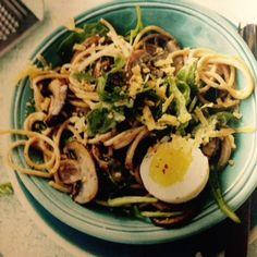 Volkoren spaghetti met champignons