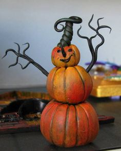 polymer clay halloween crafts | Made entirely out of polymer clay, he is 3 inches tall.