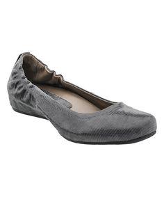Dark Gray Leather Tolo Flat