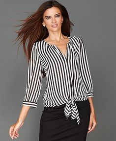 INC International Concepts Top, Three-Quarter-Sleeve Tie-Front Striped Blouse - Tops - Women - Macy's Blouse Styles, Blouse Designs, Hijab Style Dress, Modelos Fashion, Mode Plus, Stylish Tops, African Wear, Diy Dress, Modest Dresses