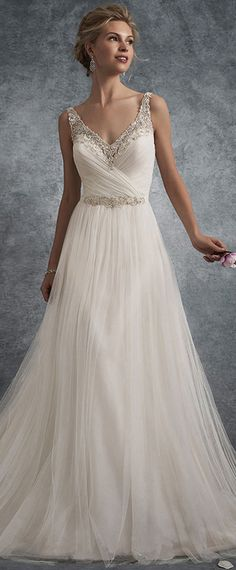 NEW! Glamorous Tulle V-neck Neckline A-line Wedding Dresses With Beaded Embroidery