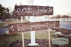 "Rustic + nautical wedding sign - ""Eat, Drink & Be Married"" - made with rope soaked in Elmer's glue and then attached to wooden boards :)"