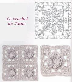 carrés fleur en relief