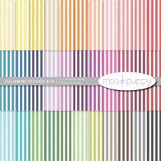 Seersucker Digital Scrapbook Paper Pack Rainbow by mooandpuppy. $3.00 USD, via Etsy.