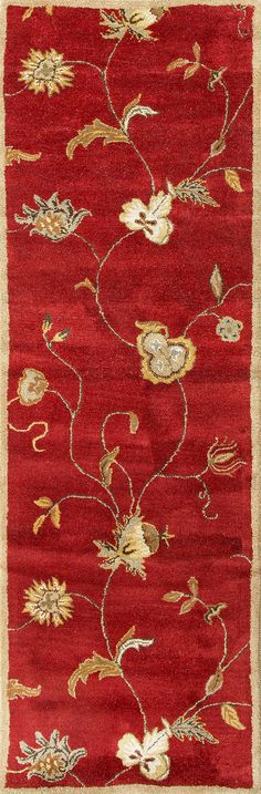Jaipur Rugs RUG103452 Hand-Tufted Floral Pattern Wool Red/Ivory Area Rug ( 2.6x8 )