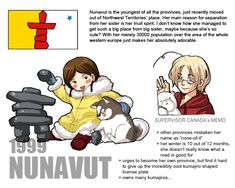 Canadian Provinces and Territories by Ctcsherry Canada Funny, Hetalia Fanart, Northwest Territories, Manga List, Online Anime, Kirito, The Province, Anime Characters, Fictional Characters