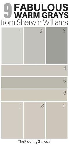 9 Amazing Warm Gray Paint Shades from Sherwin Williams Gray Things gray color hues Greige Paint Colors, Bedroom Paint Colors, Paint Colors For Living Room, Paint Colors For Home, House Colors, Paint Colours, Warm Gray Paint Colors, Warm Bedroom Colors, Trim Paint Color
