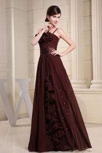 Brown Evening Dress Patterns with Straps and Hand Made Flowers