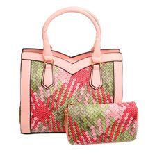 Pink Woven Leather Handbag Set Tote Handbags, Leather Handbags, Vegan Leather, Print Design, Shoulder Strap, Fashion Jewelry, Wallet, Closure, Zipper