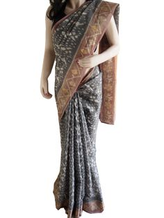 Gray Gadwal Pure Cotton Silk Ikat Saree