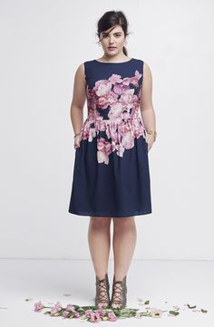 Adrianna Papell Floral Print Chifffon Dress & Joie Sandal (Plus Size)