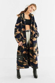 UO Camo Wool Cocoon Coat