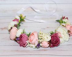 Corona de flores corona de flores corona de flores nupcial, corona floral, corona de la boda, diadema floral, flor rosa blanca novia diadema de novia