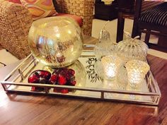 Mirrored tray+Mercury glass bowl+votives+glass hangings from last Christmas