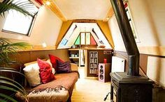 Blake's widebeam canal boat he renovated from a shell to a luxurious home afloat. Barge Interior, Interior Windows, Camper Interior, Interior Modern, Interior Design, Canal Boat Interior, Canal Barge, Narrowboat Interiors, Living On A Boat